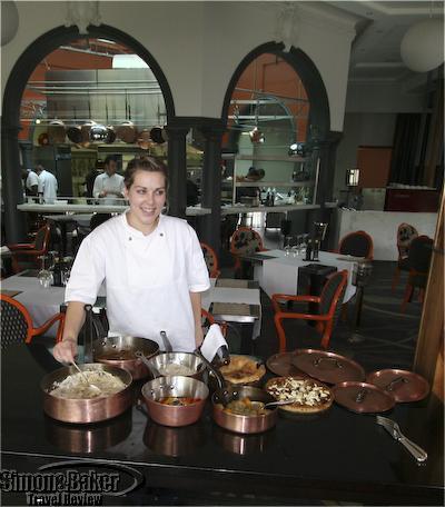 Myoga chef at buffet table