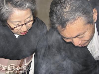 Ryokan owners preparing a meal