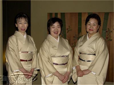 Ryokan staff in traditional dress