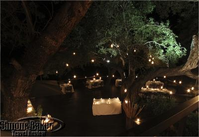 The dining area on the main deck prepared for Earth Hour