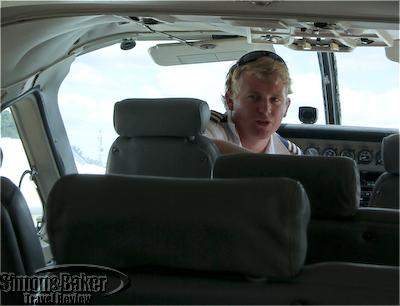 Our pilot does the safety briefing prior to takeoff