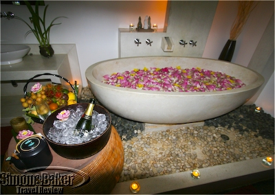 My treatment included a flower filled tub, fresh fruit and a half bottle of champagne