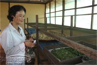 Oum Sophea Pheach explains the process of creating silk fibers