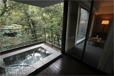 From the hot spring, I could take in the view of both my room and the river below
