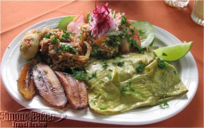 Plate of Dominican food
