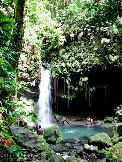 Swimming in the waterfalls near the Caribe village