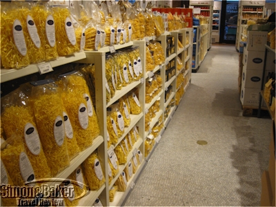 One of the pasta aisles in the market