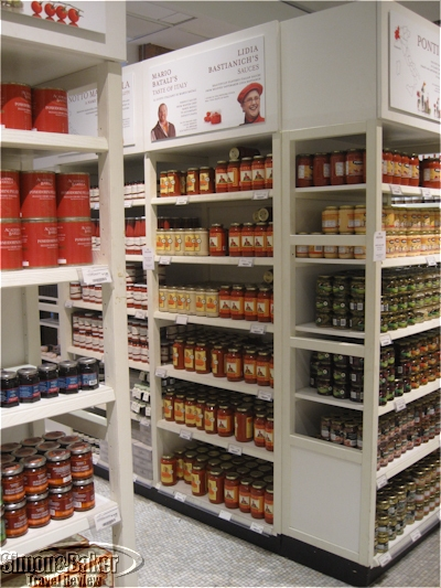 The store offers many imported goods such as these pasta sauces