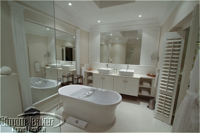 The bathroom was large with tub and shower
