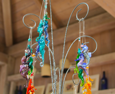 Many of her glass creations are sea creatures