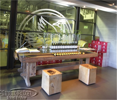 The tasting area had a view into the wine production facility