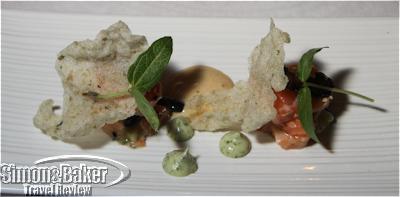 Salmon carpaccio and tartare