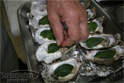 Marc Meneau demonstrates the preparation of his popular Huites en gelée d'eau de mer oyster dish