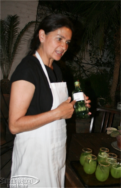 Chef Monica Patiño describes the artisan mezcals on offer with dinner