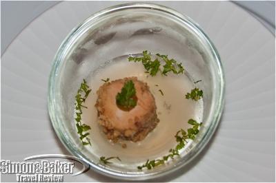 Foie gras on jellied green tea