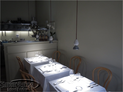 The dining area is simple with elegant touches