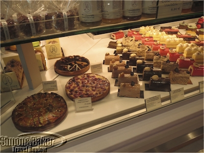 Tarts and pastries with fruit and chocolate were tempting