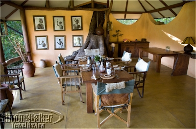 The dining area at Kitich with photos of local Samburu on the walls