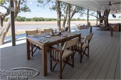 View over the Luangwa river from the dining area of Chinzombo camp