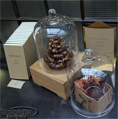 The dark chocolate tree with nuts and fruit facing up