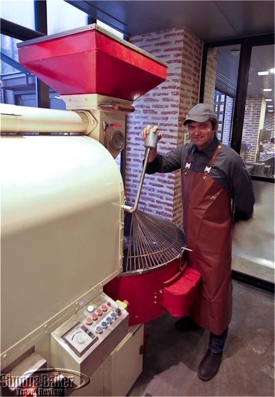 Nicolas Berger roasting cocoa beans