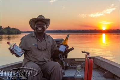 Captain Victor serving up sundowners