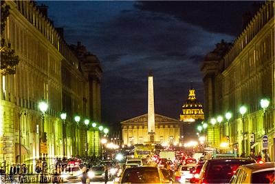 Rue Royale and Place de la Concorde at night.