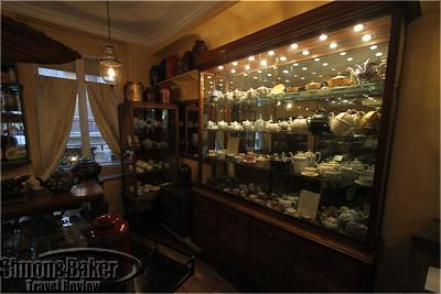 A collection of tea pots from the tea museum