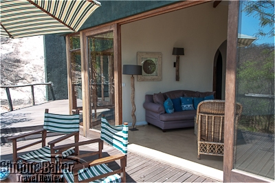 1.The sitting room opened onto a secluded side deck