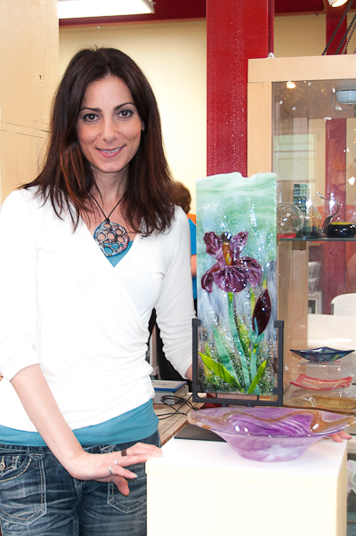 Glass artist Cara DiMassimo with some of her recent creations