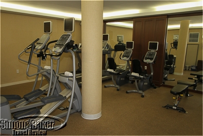 The workout room was downstairs in the spa