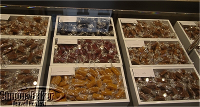 Caramels in a variety of flavors on display.
