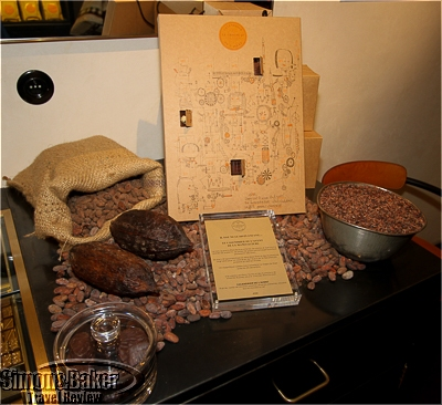 Information and a display of the raw ingredients for chocolate