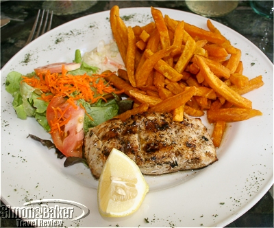 My fresh fish lunch at the Oualie Beach Restaurant at Oualie Beach Resort