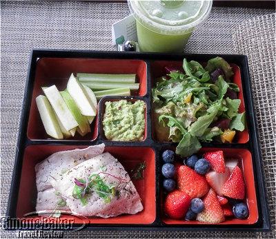 My smoothie and a bento box with fresh fish and the The Spa at Four Seasons Resort Nevis tasted as good as it looked