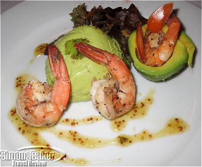 Avocado Mousse with Shrimp, Greens and Mustard Vinaigrette