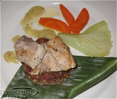 Pan-seared Mahi Mahi Fillet, roasted Pineapple and Cilantro Sauce