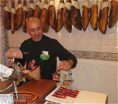 Slicing Bellota ham requires skill
