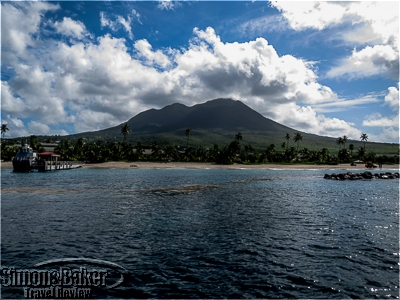 From the sailboat we saw Mount Nevis and the shoreline.