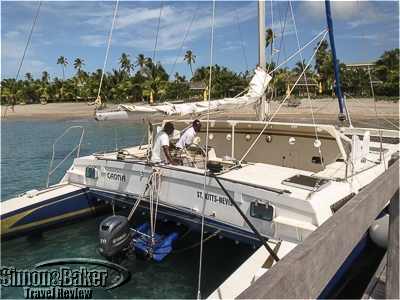 Our catamaran was 47 feet long and 22 feet wide and could accommodate up to 24 passengers.