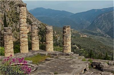 Columns of the temple of Apollo in Delphi