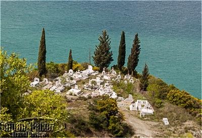 Cemetery on the shore of Lake Kremaston
