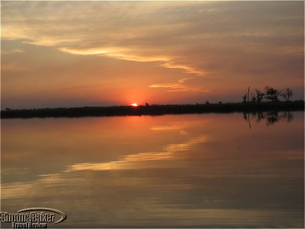 Sunset over the delta near Camp Moremi