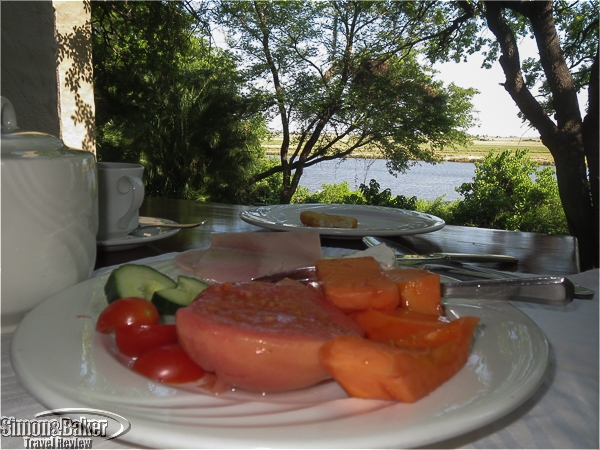 Breakfast at the Chobe Game Lodge with a view of the river