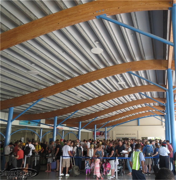 The crowd waiting for security at the Turks and Caicos airport