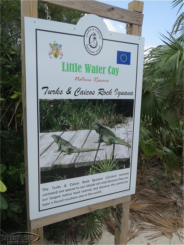A sign for the Little Water Cay Nature Reserve