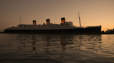 The Queen Mary at dusk