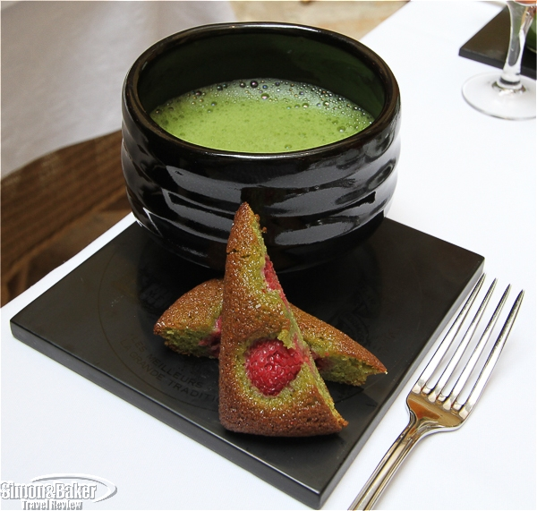 Macha tea served with financier