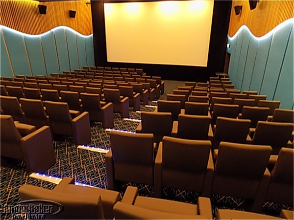 The movie theater features films for public and private events.