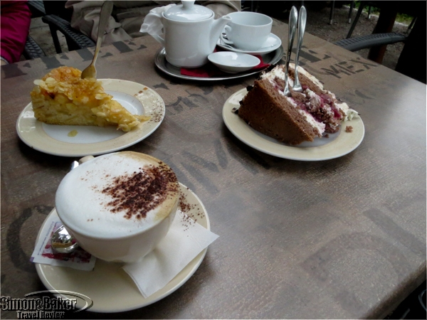 Black forest cake, strudel cake and cappucinno